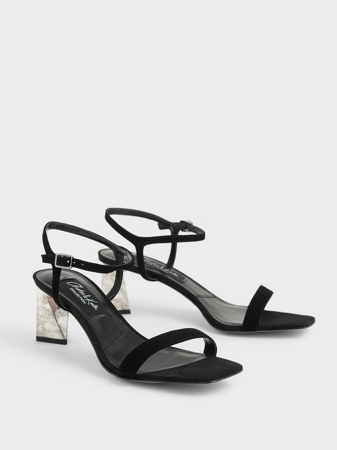 Chrome Heel Sandals (Kid Suede), Black, hi-res