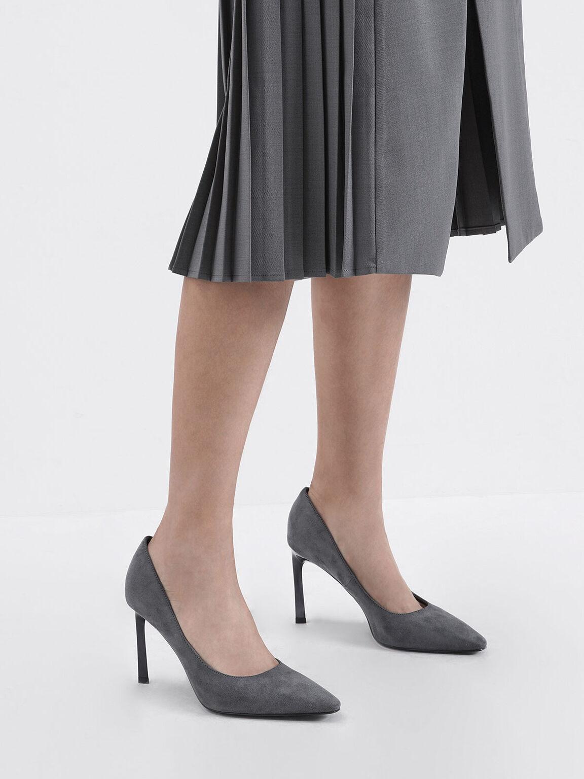 簡約尖頭細跟鞋, 深灰色, hi-res