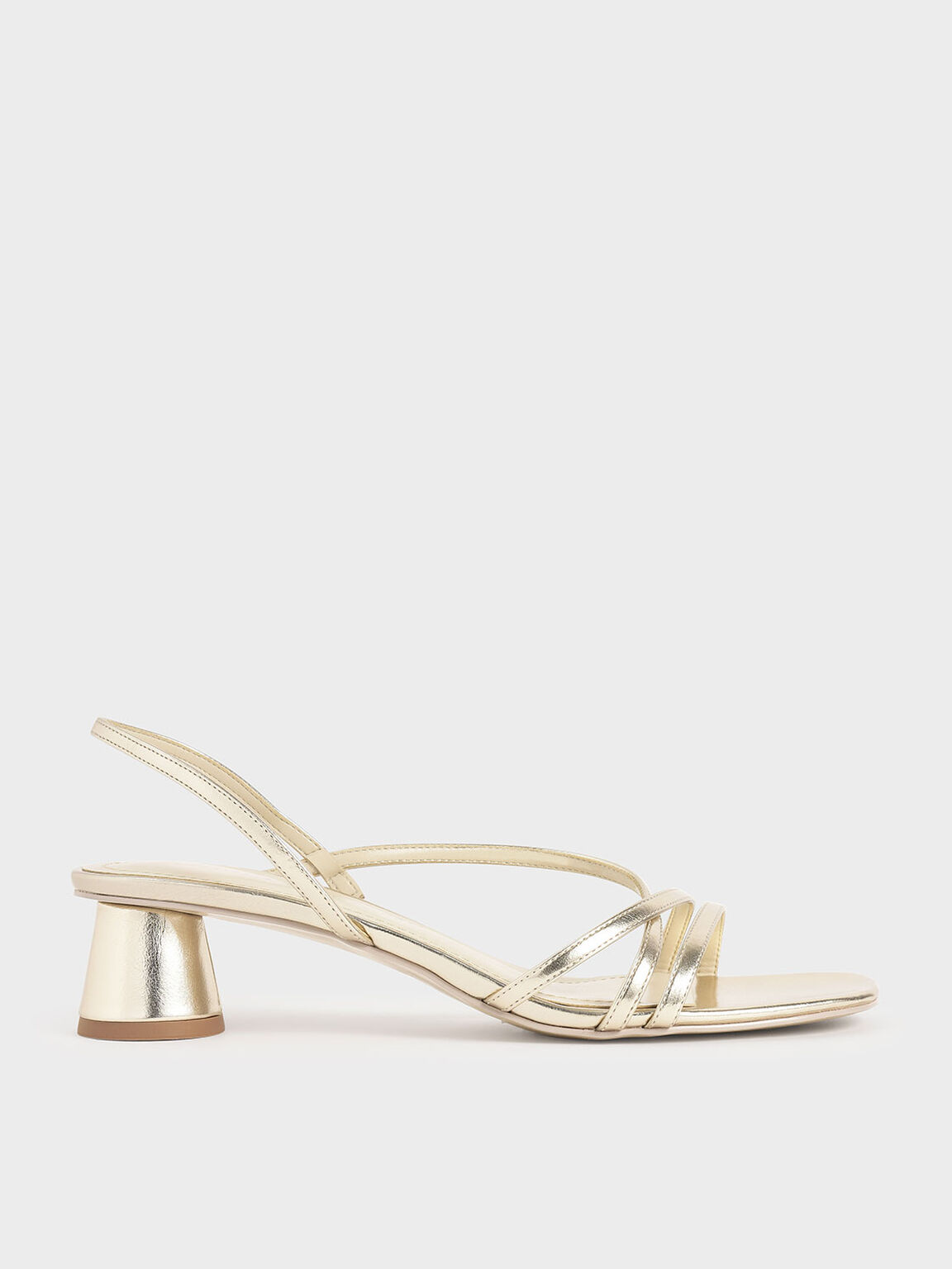 Metallic Strappy Cylindrical Heel Sandals, Gold, hi-res