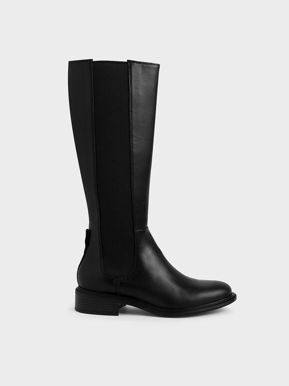 彈性帶拼接長靴, 黑色, hi-res