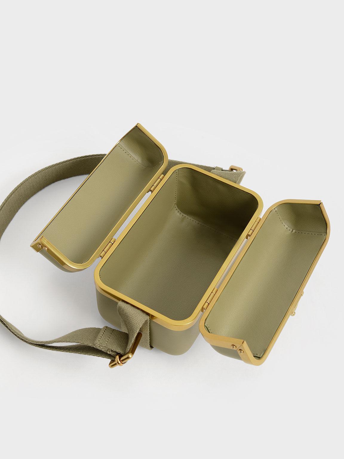 復古珠寶盒肩背包, 橄欖色, hi-res