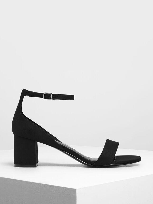 Open Toe Low Block Heel Sandals, Black Textured, hi-res