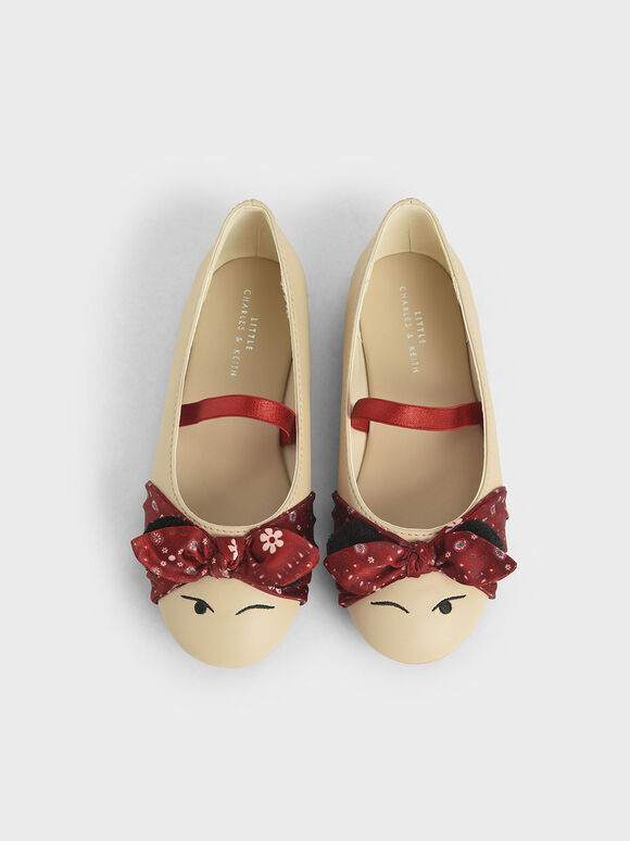 The Purpose Collection - Girls' Bandana Print Bow Ballerinas, Taupe, hi-res