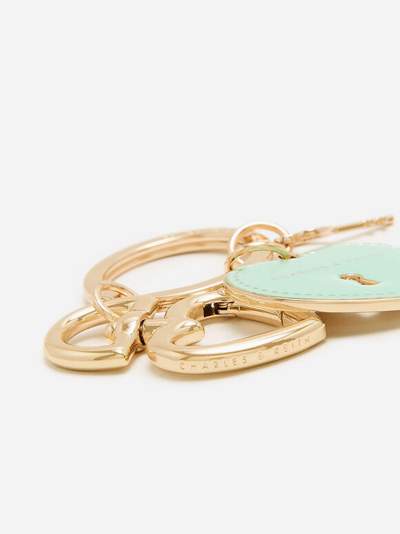 Heart Lock Keychain, Turquoise, hi-res