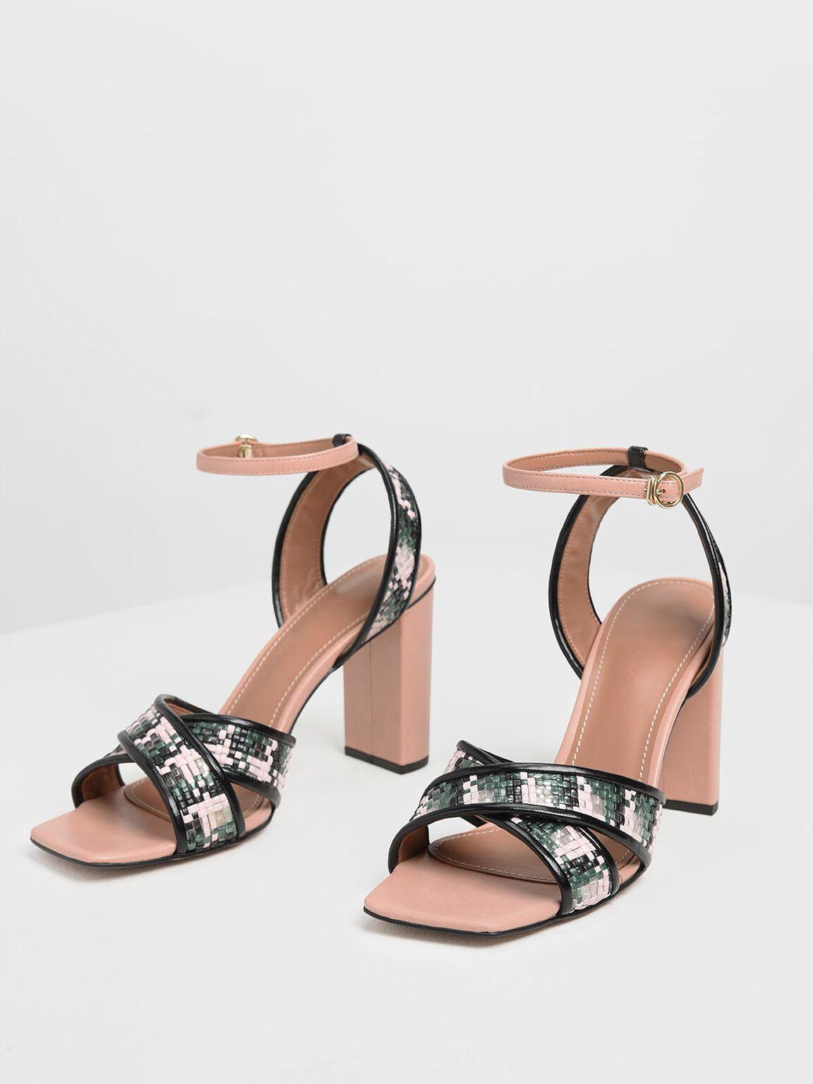 編織交叉帶涼鞋, 嫩粉色, hi-res