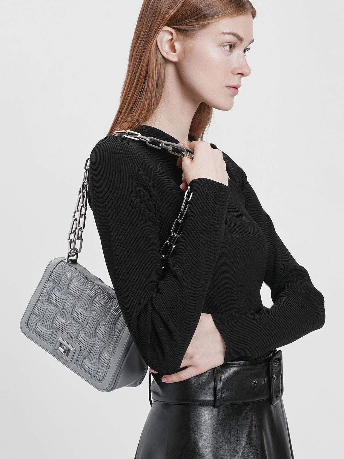 Textured Chain Handle Crossbody Bag, Grey, hi-res