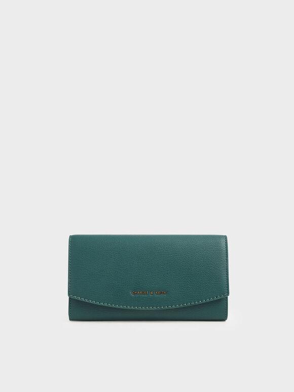 Mini Front Flap Long Wallet, Dark Green, hi-res
