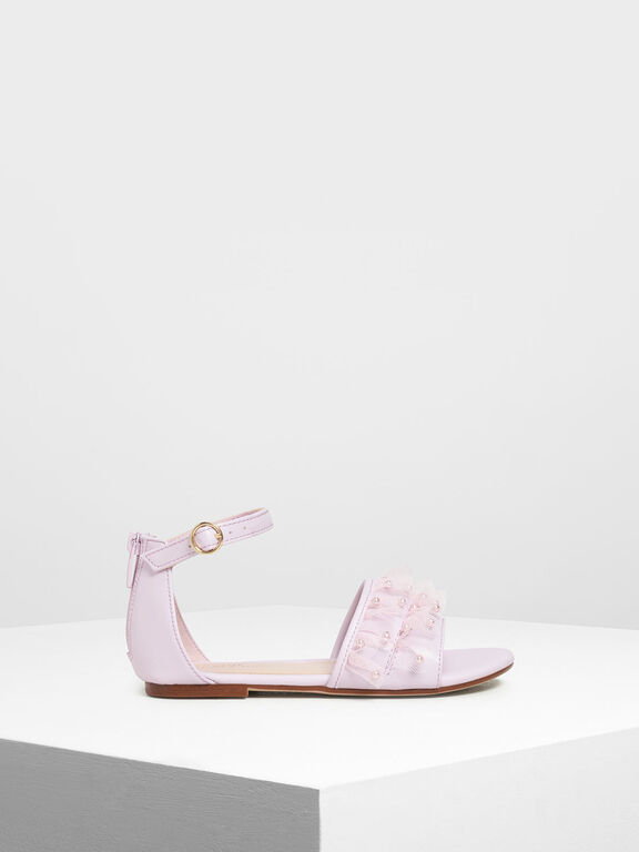 Kids' Lace & Beads Trimmed Sandals, Lilac
