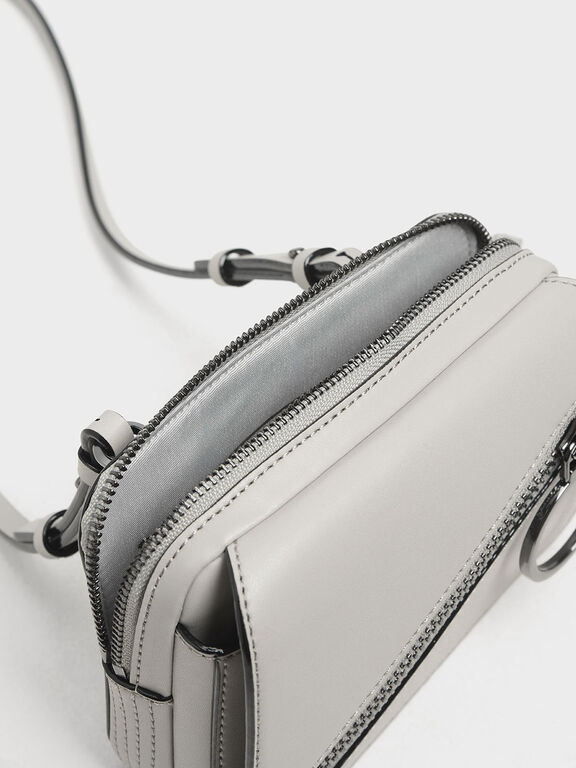 Ring Zip Pocket Two-Way Belt Bag, Grey, hi-res