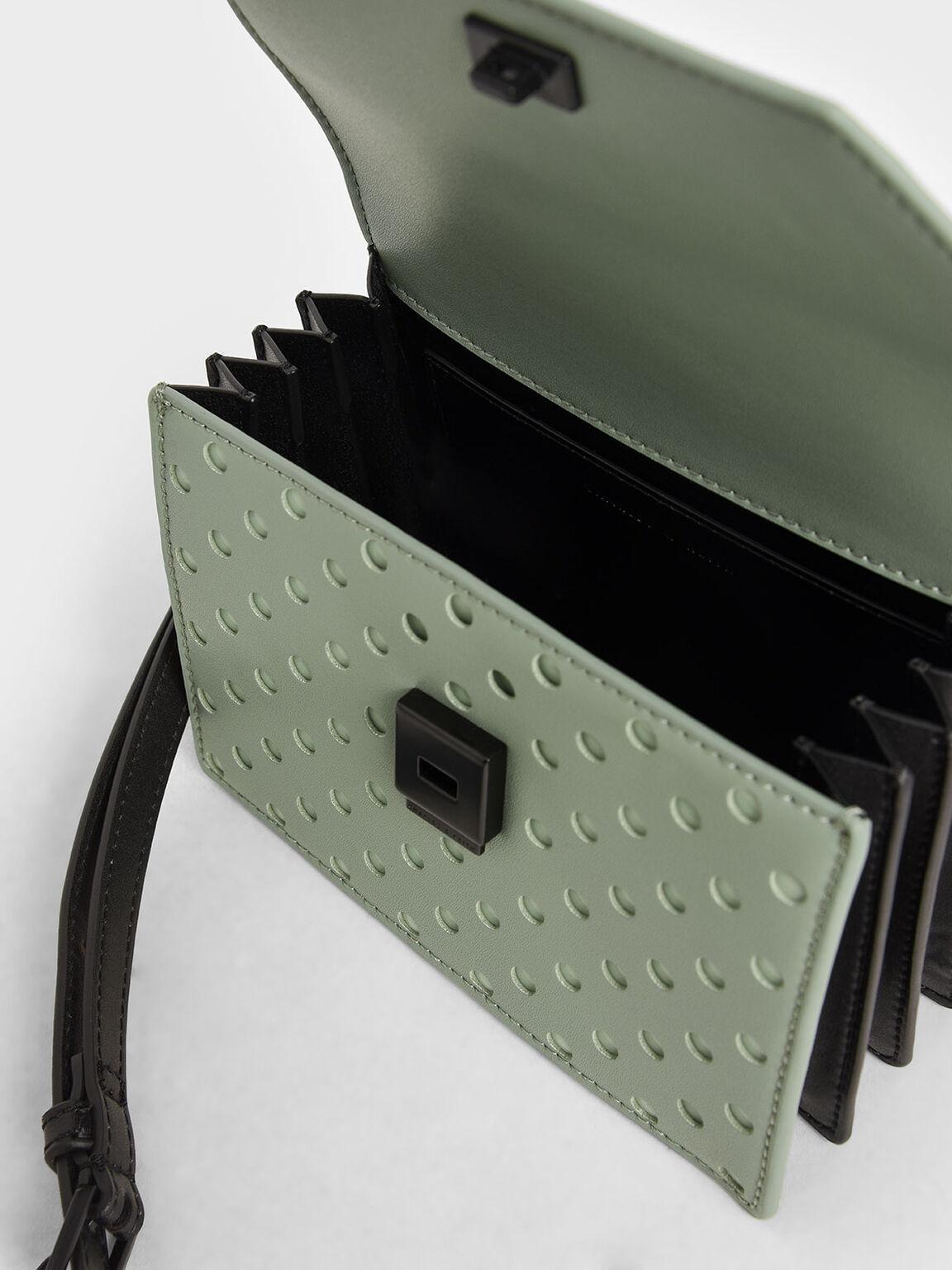 Laser-Cut Small Top Handle Bag, Sage Green, hi-res