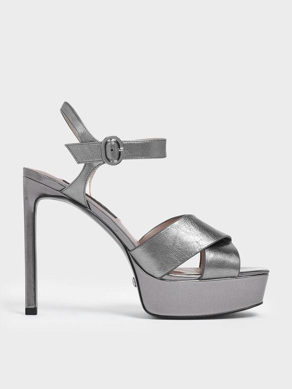 Wrinkled-Effect Leather Platform Stiletto Heels, Pewter, hi-res