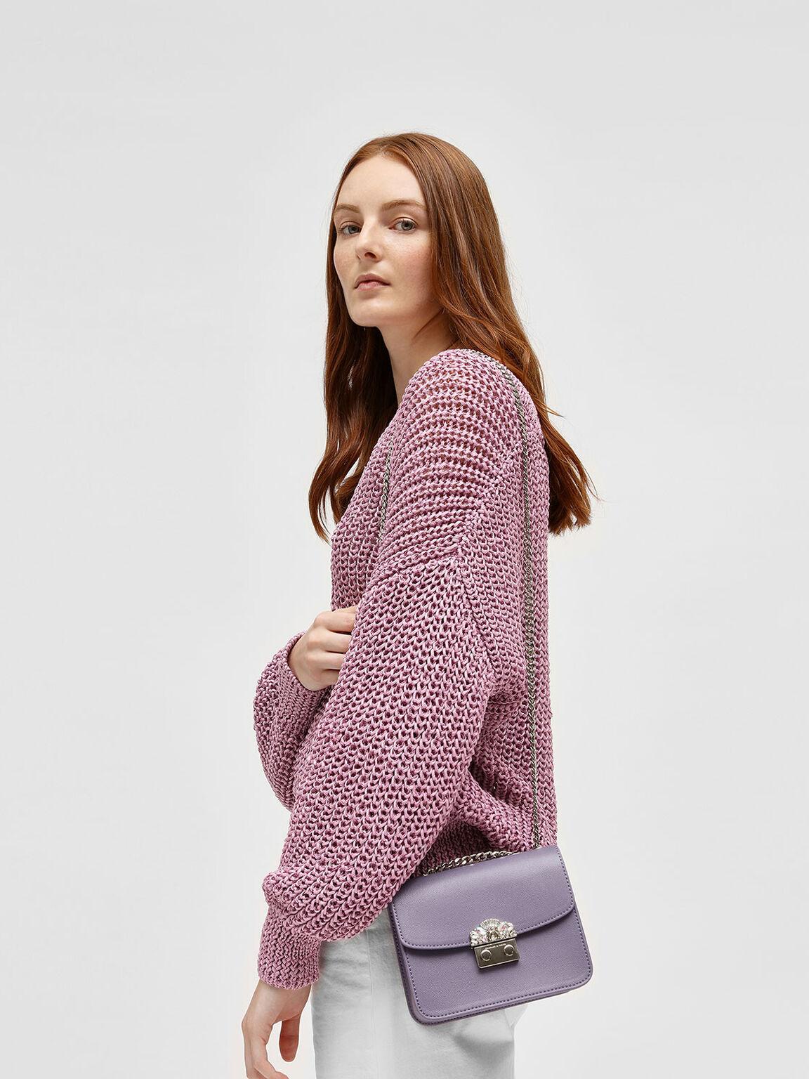 Embellished Buckle Crossbody Bag, Lilac Grey, hi-res