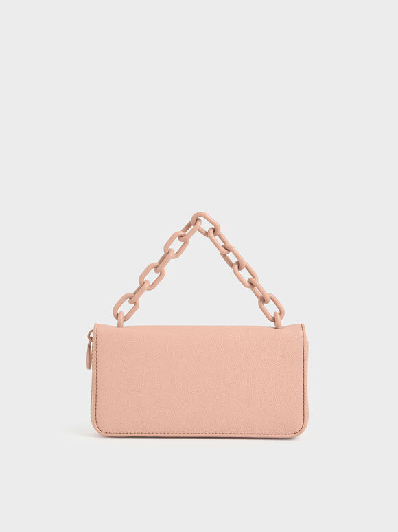 鍊條長夾, 嫩粉色, hi-res