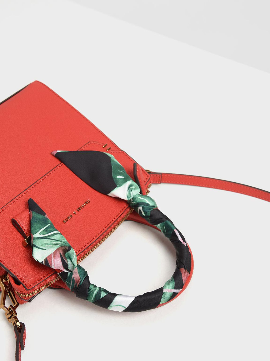 Scarf Wrapped Top Handle Bag, Red, hi-res