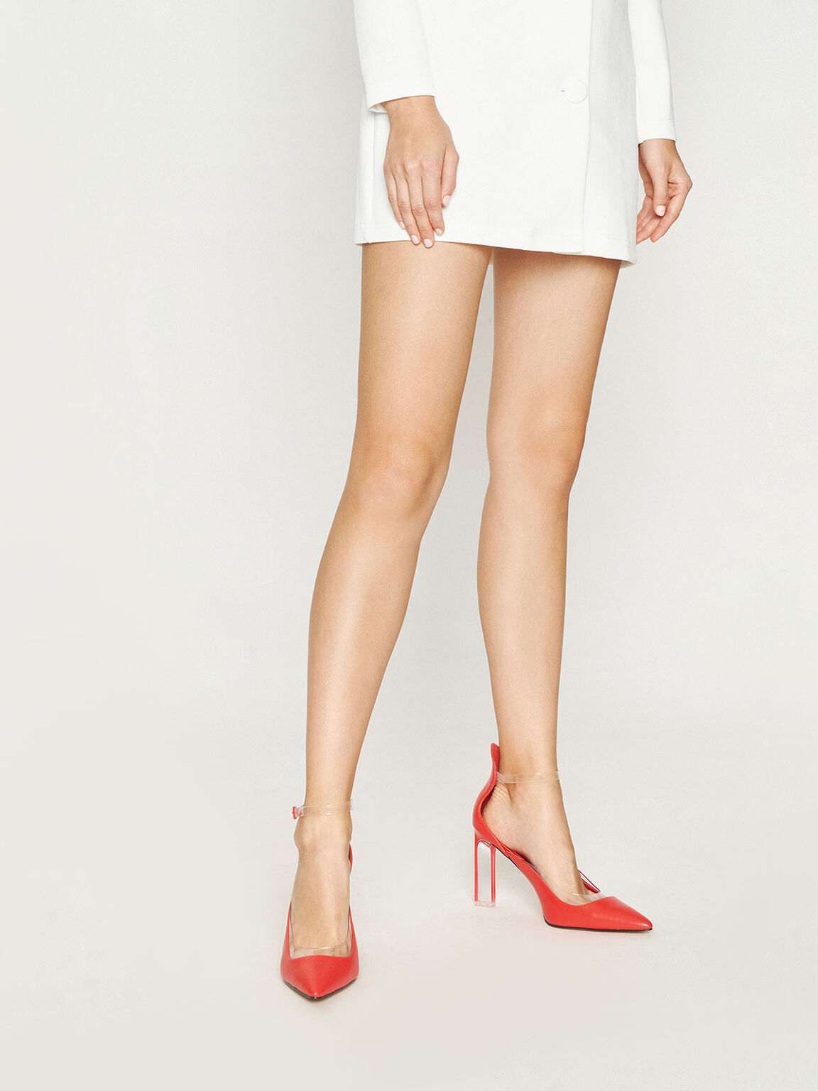 Acrylic Heeled Pumps, Red, hi-res