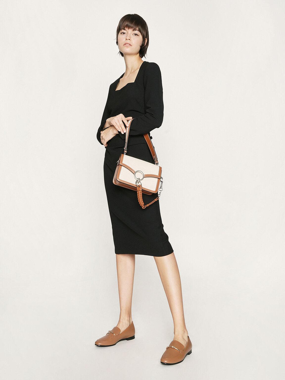 Canvas Turn-Lock Shoulder Bag, Cognac, hi-res
