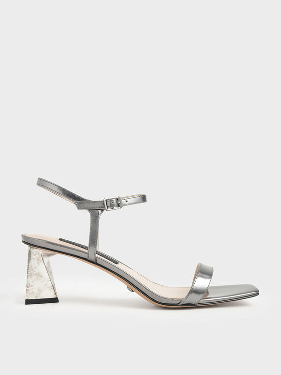 Metallic Leather Chrome Heel Sandals, Silver, hi-res