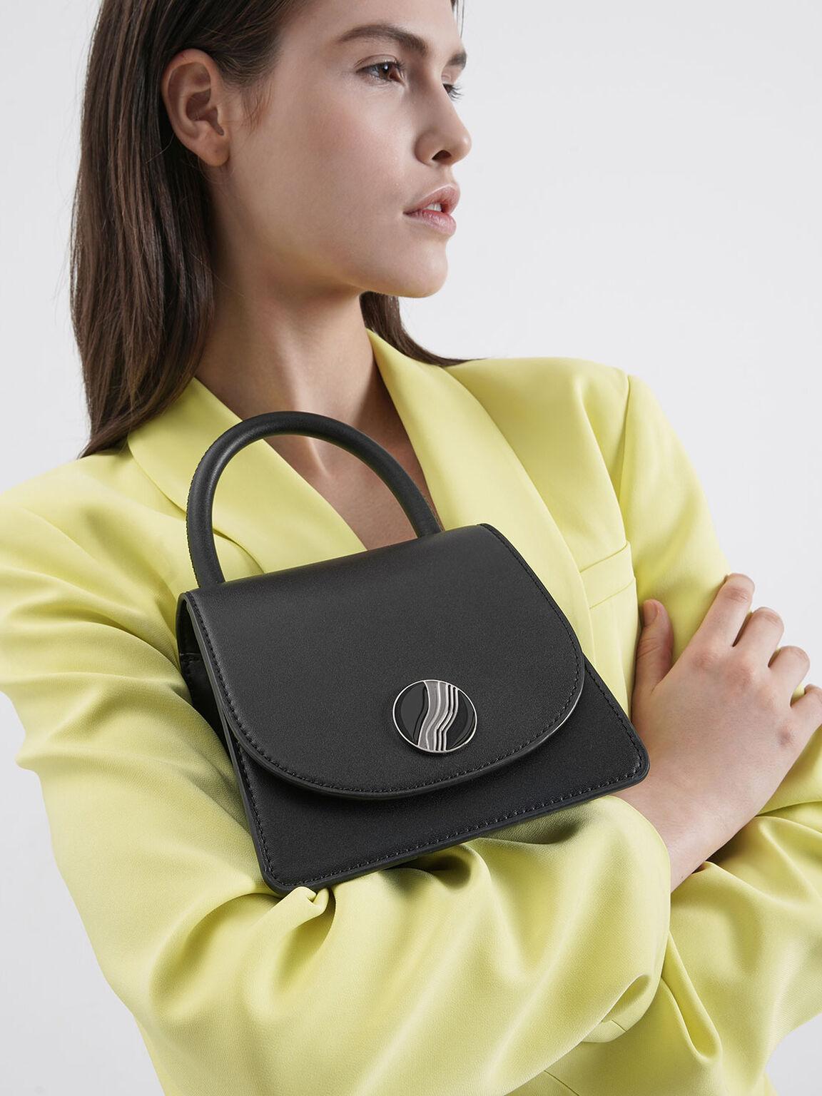 粗鍊條手提包, 黑色, hi-res