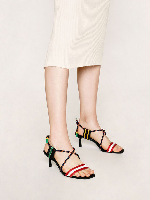 羅緞繩索高跟涼鞋, 混色, hi-res