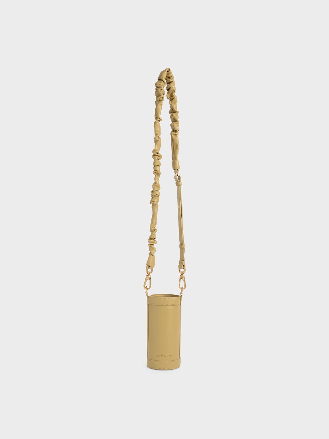 Riley Ruched Strap Bottle Holder, Sand, hi-res
