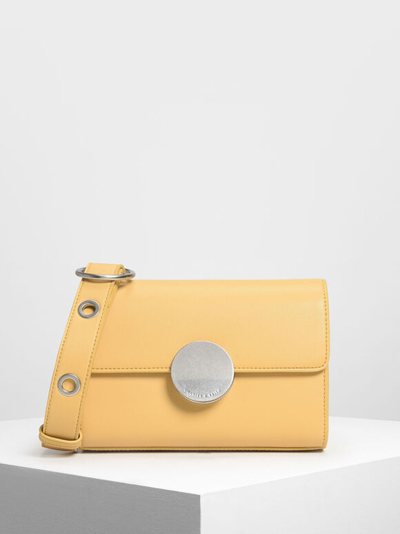 Circular Push Lock Crossbody Bag, Yellow, hi-res