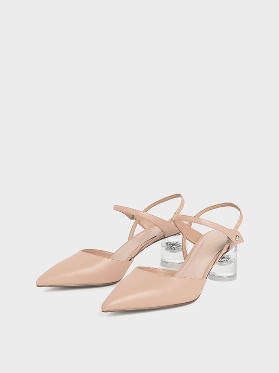 Pointed Toe Lucite Heel Cylindrical Pumps, Nude