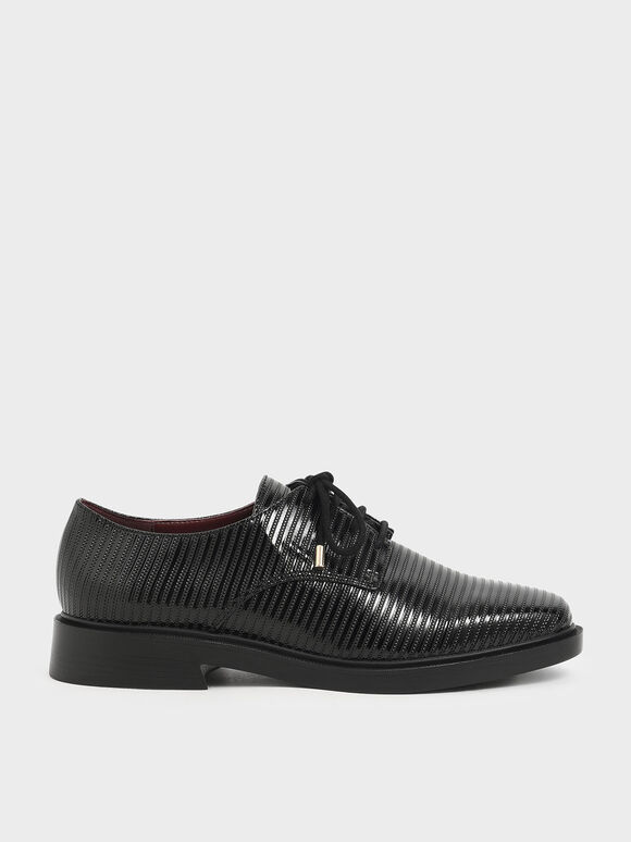Patent Derby Shoes, Black, hi-res