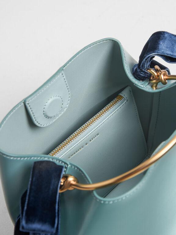 Velvet Bow Bucket Bag, Teal