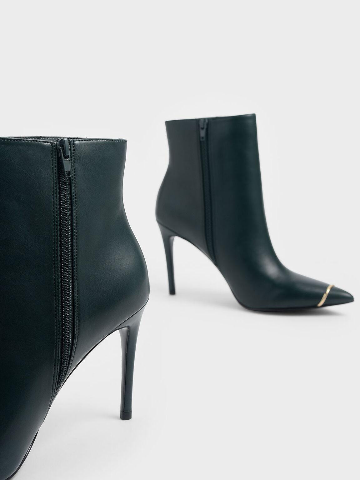金屬點綴尖頭短靴, 綠色, hi-res