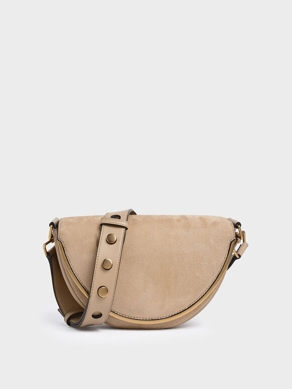 Textured Semi-Circle Crossbody Bag, Beige, hi-res