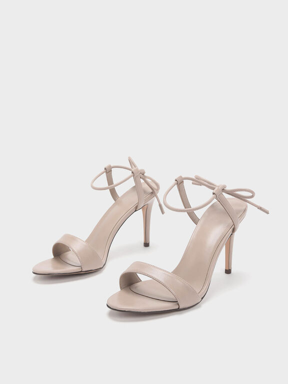 Ankle Tie Stiletto Sandals, Nude