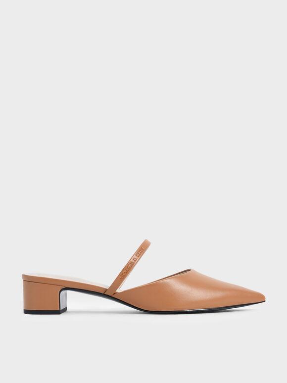 素面穆勒粗跟鞋, 咖啡色, hi-res