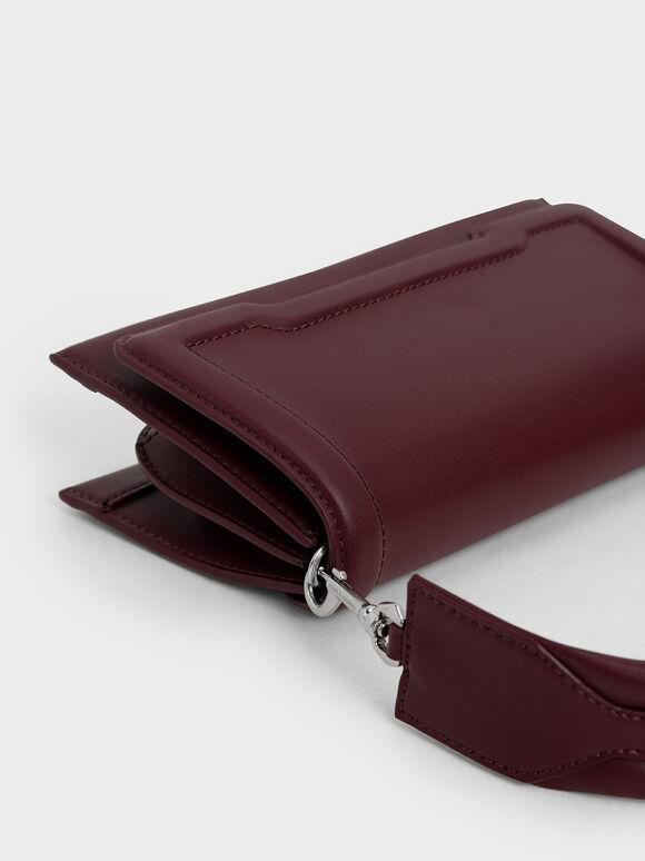 Trapeze Front Flap Bag, Burgundy, hi-res