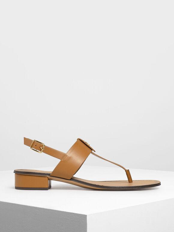 Gold Button Accent Thong Sandals, Cognac, hi-res
