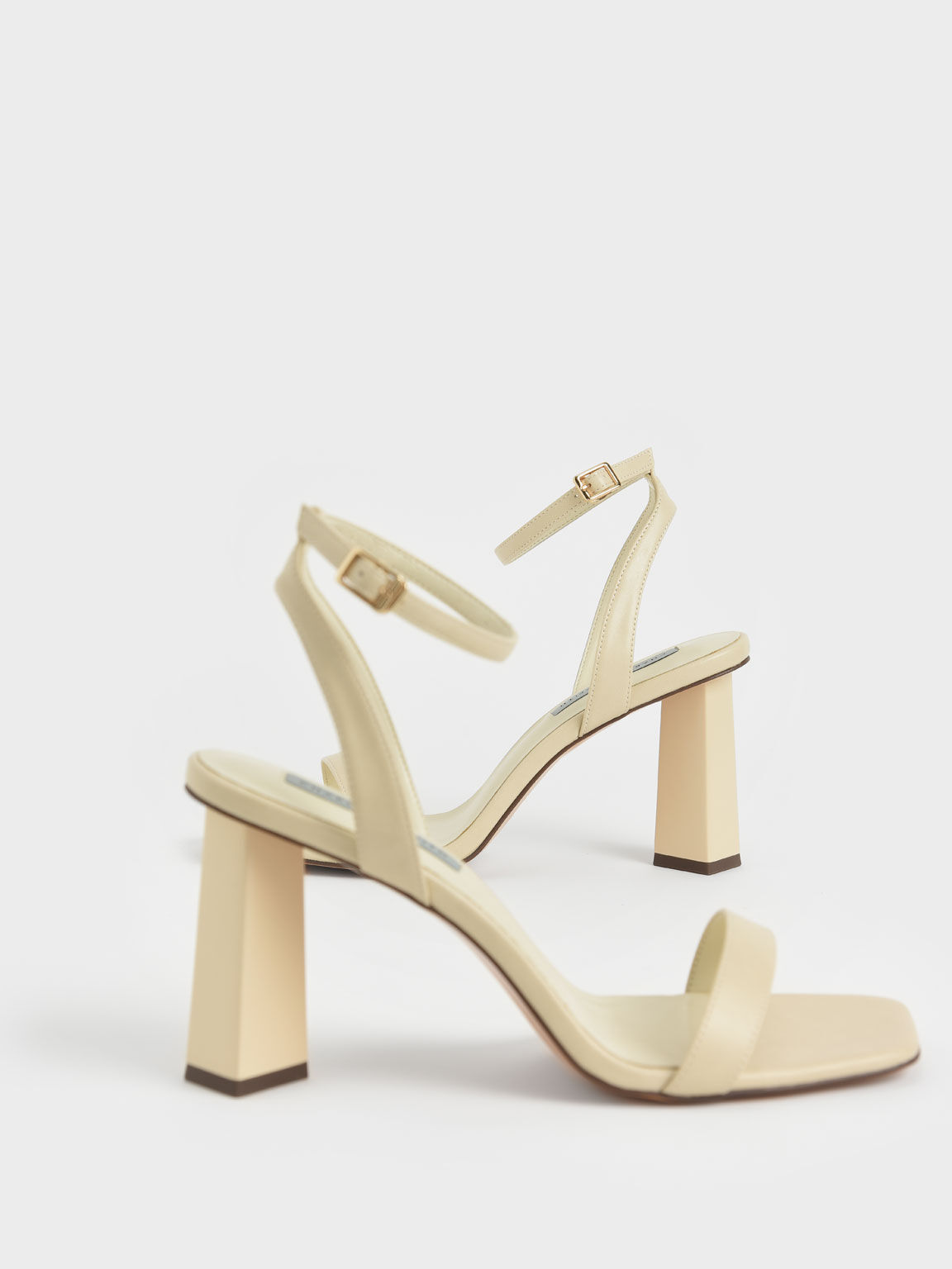 Ankle Strap Geometric Heeled Sandals, Chalk, hi-res