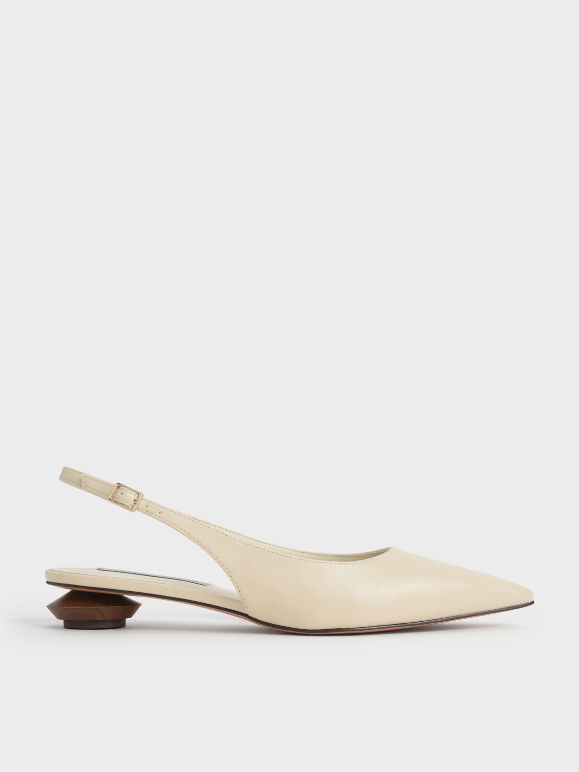 Sculptural Heel Slingback Pumps, Chalk, hi-res