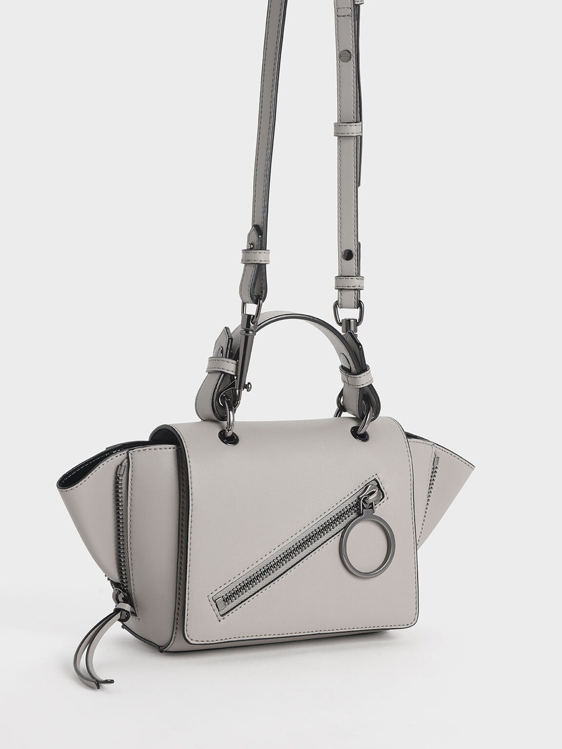 Ring Zip Pocket Trapeze Bag, Grey, hi-res