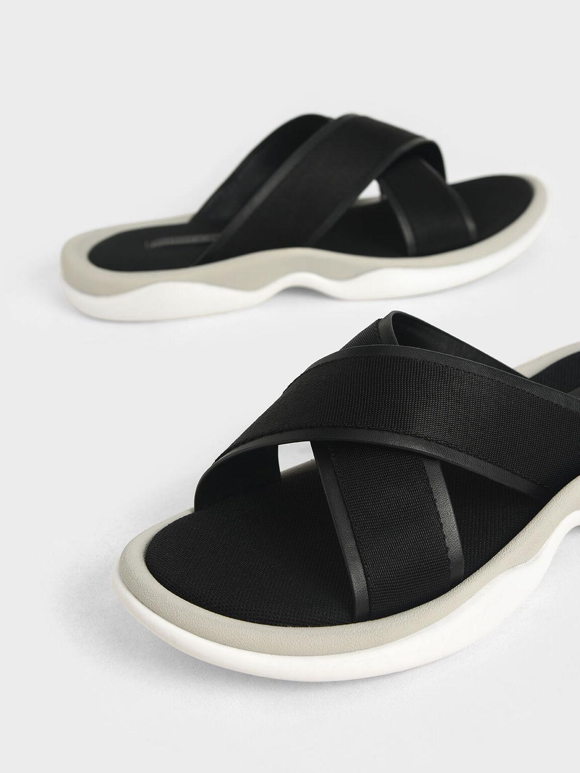 Grosgrain Slide Sandals, Black, hi-res