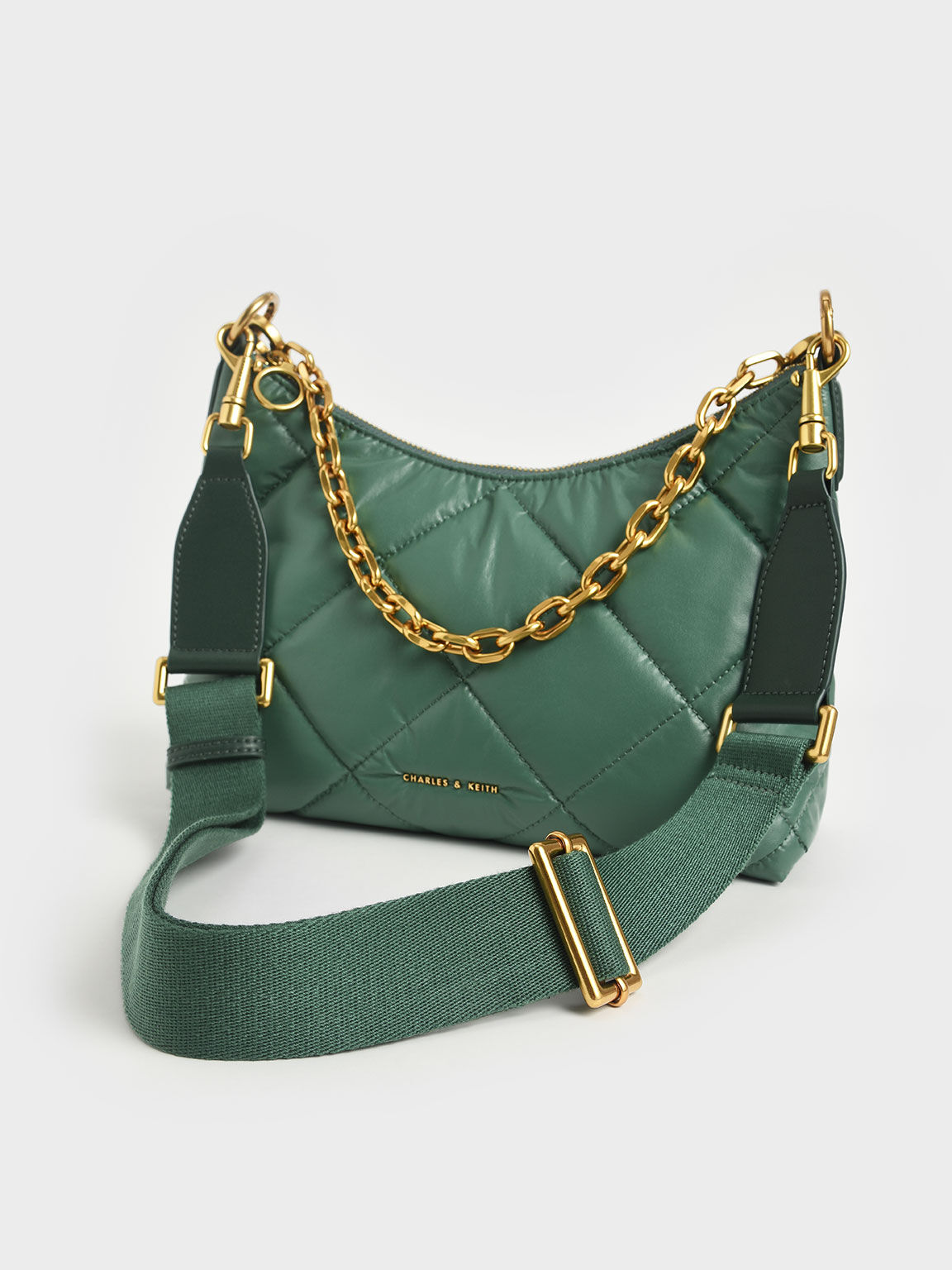 Puffy Quilted Chain Handle Bag, Dark Green, hi-res