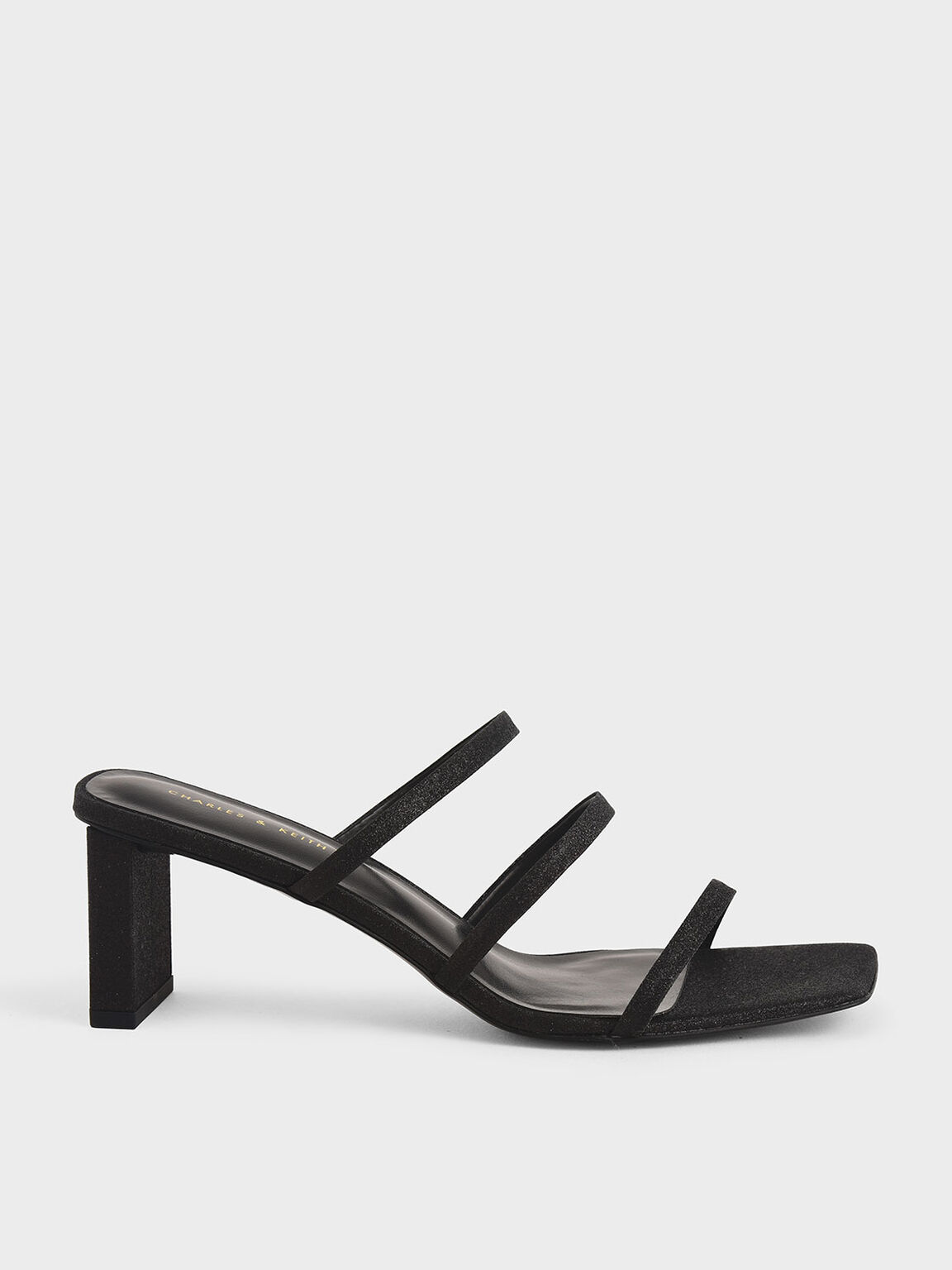 Glitter Strappy Blade Heel Mules, Black, hi-res