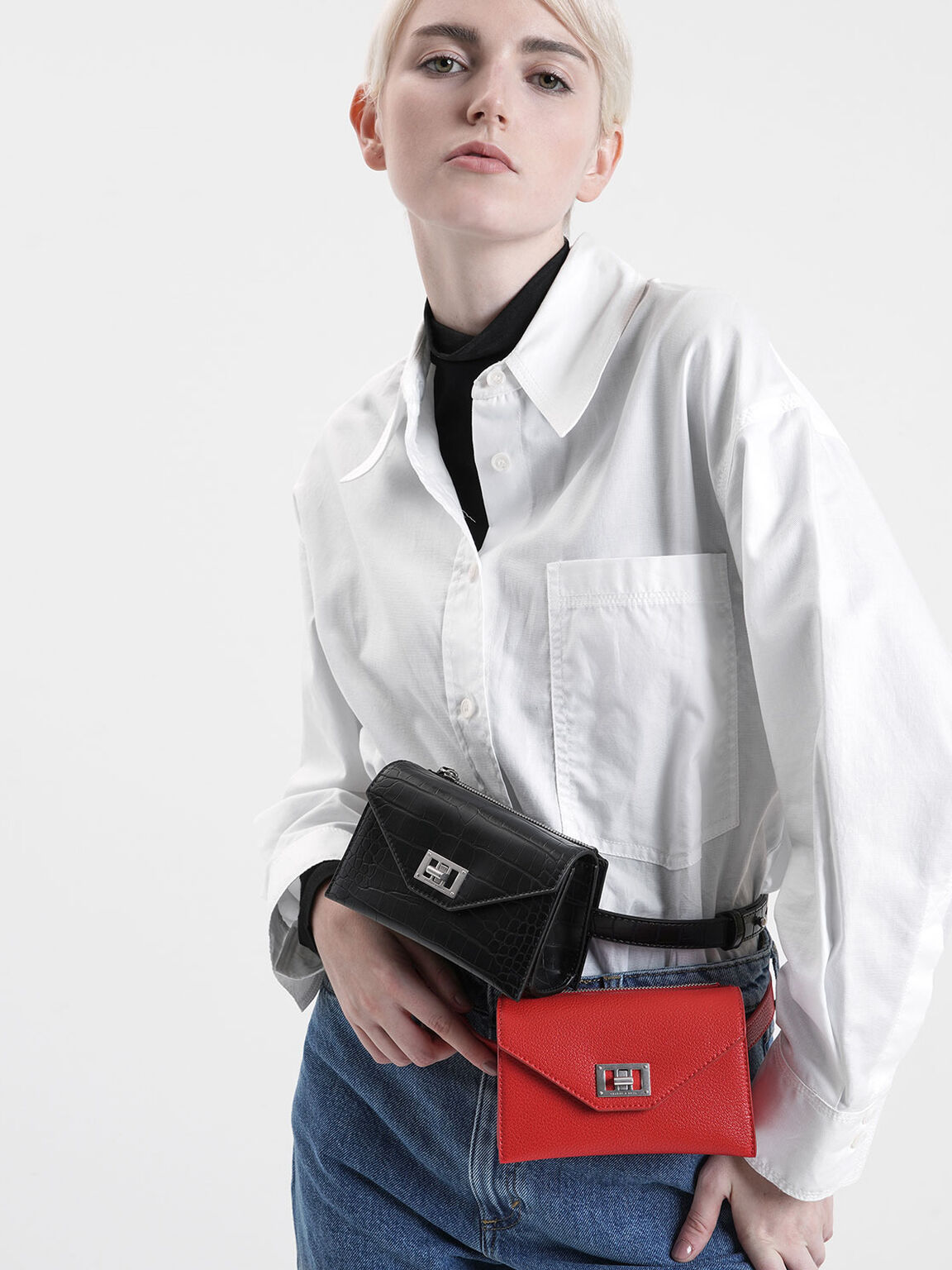 Turn Lock Belt Bag, Red, hi-res