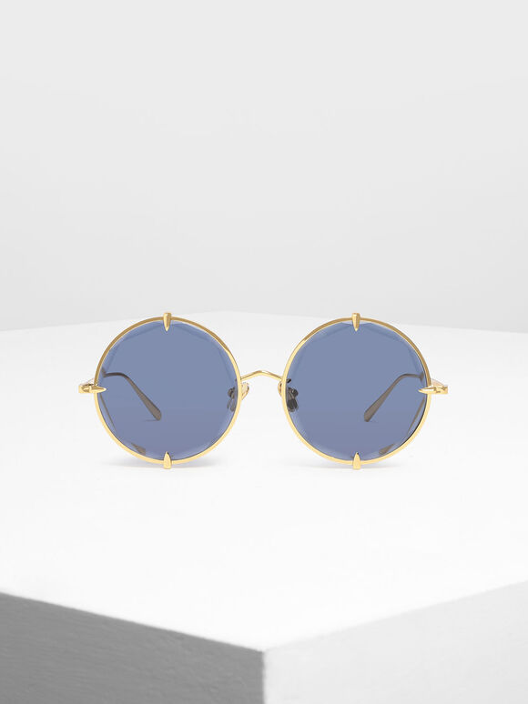 Round Wire Frame Skinny Sunglasses, Blue, hi-res