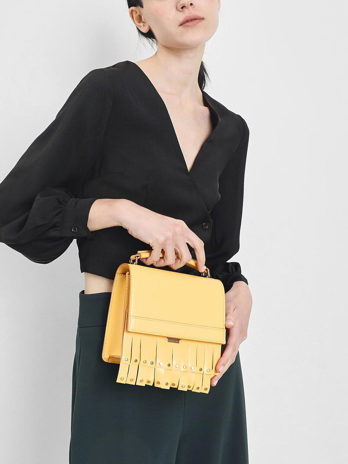流蘇手提包, 黃色, hi-res