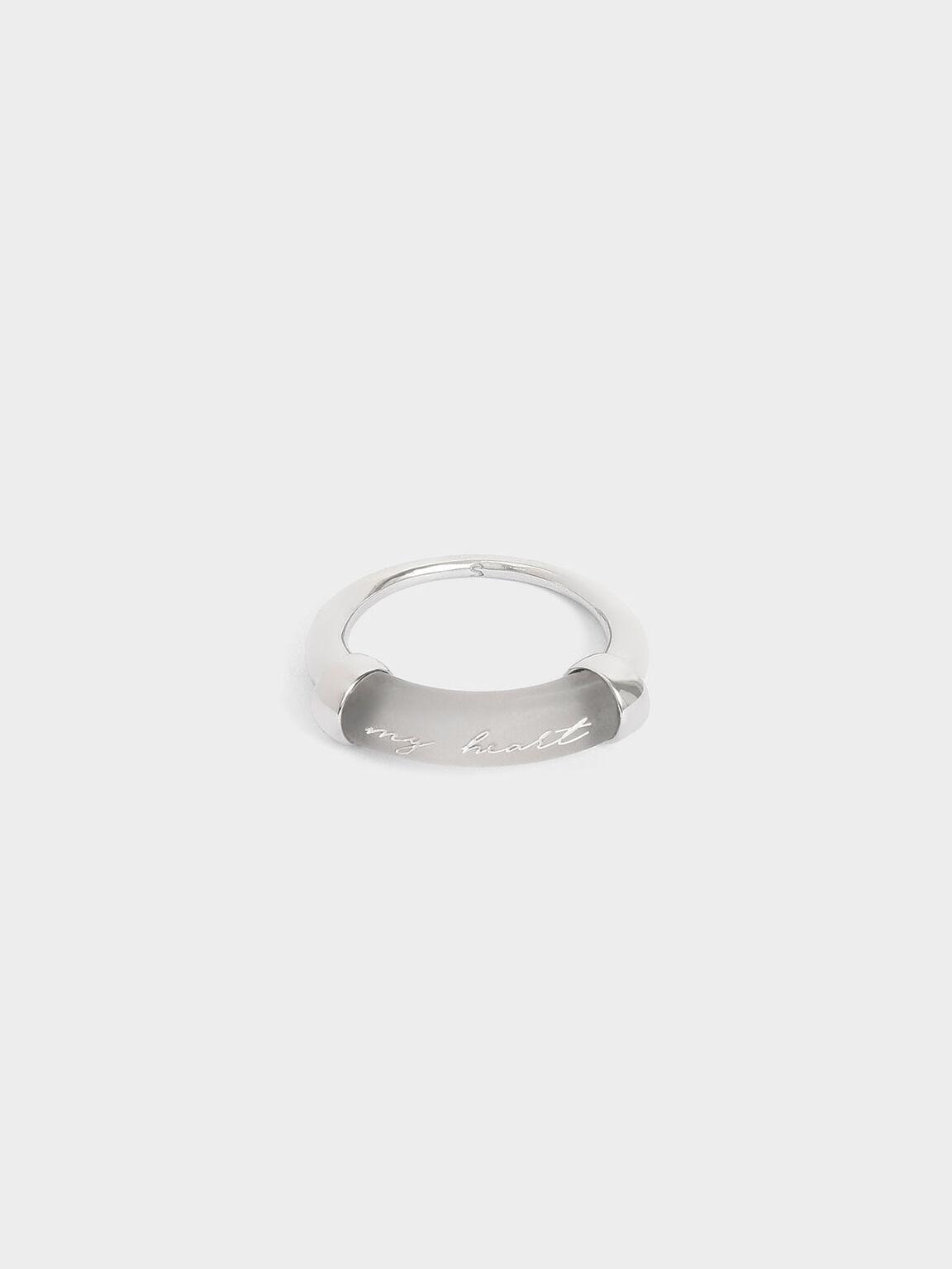 """My Heart"" Printed Ring, Silver, hi-res"