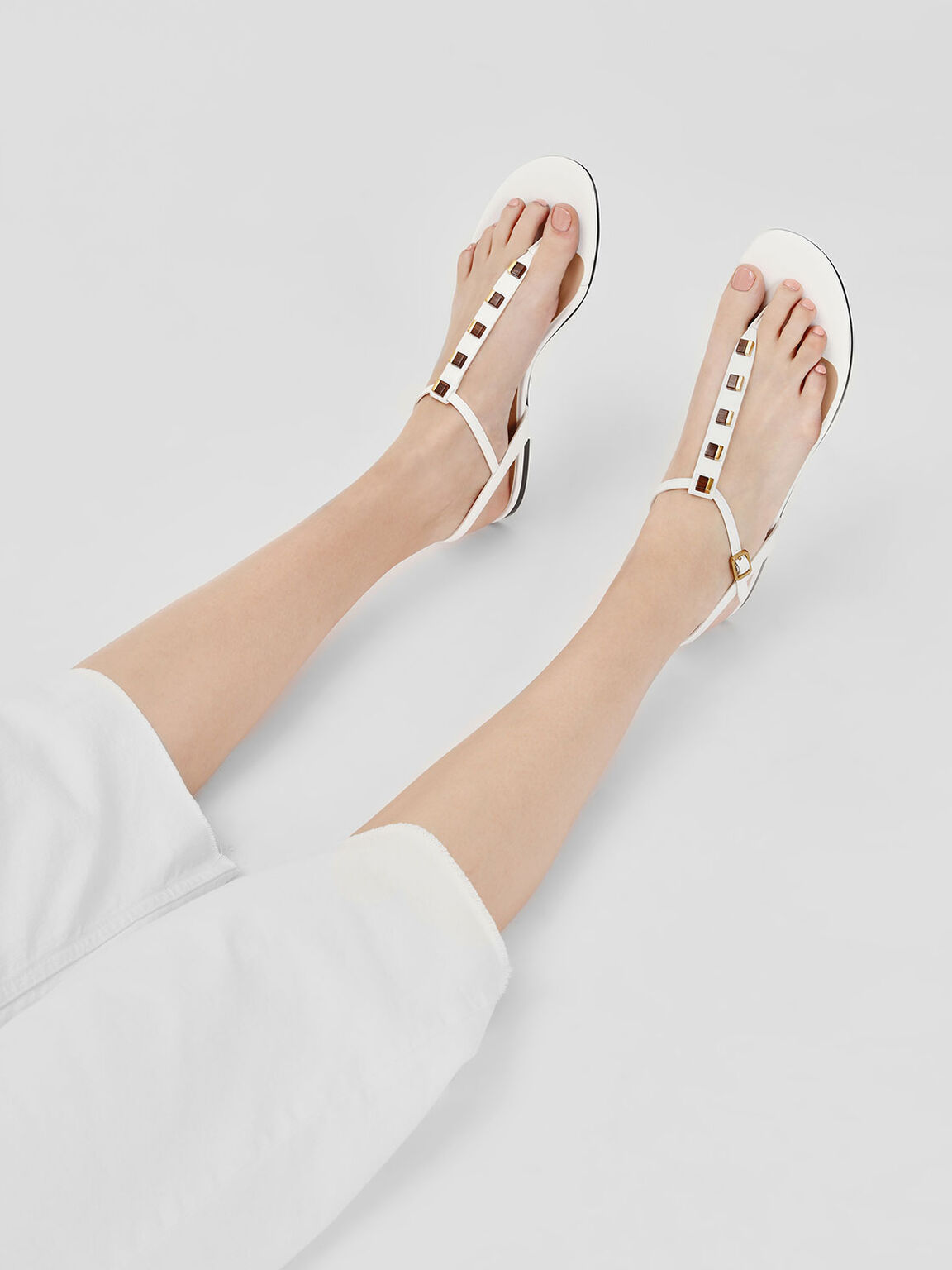 Embellished T-Bar Sandals, White, hi-res
