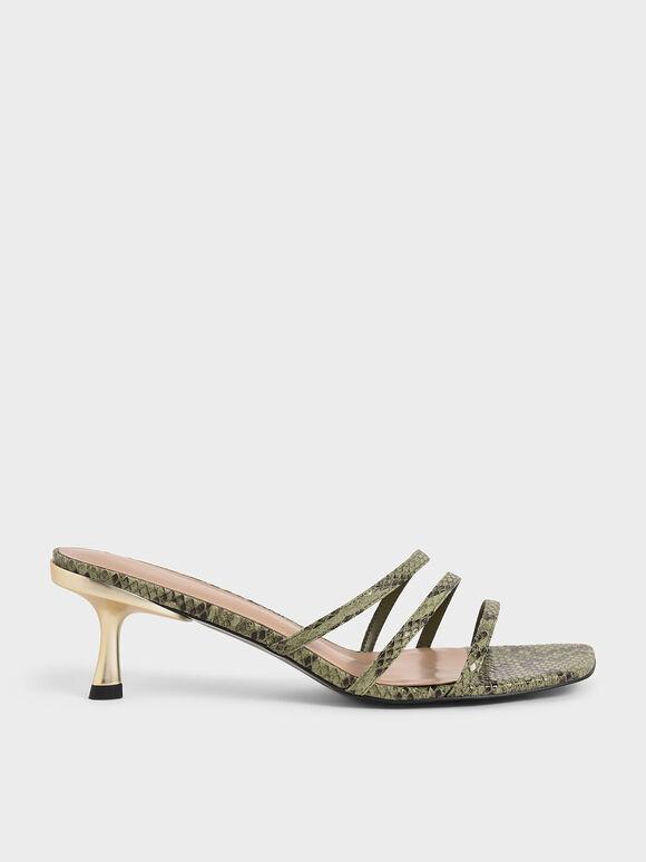 蛇紋不對稱細帶拖鞋, 綠色動物紋, hi-res