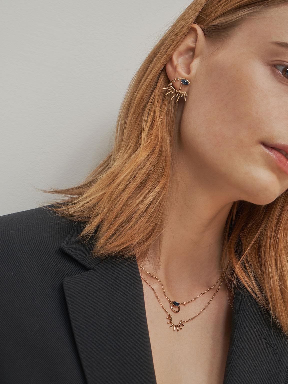 Swarovski® Crystal Stud Earrings, Gold, hi-res