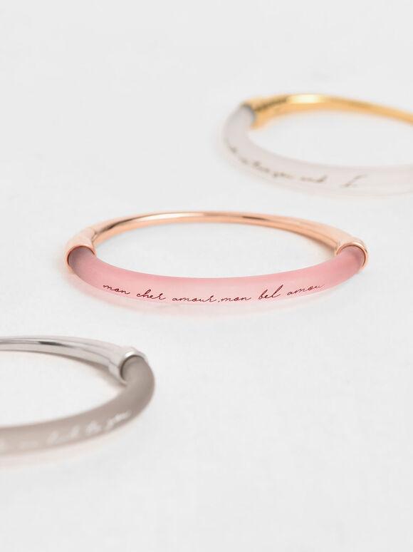 """Mon Cher Amour, Mon Bel Amour"" Printed Bracelet, Rose Gold, hi-res"