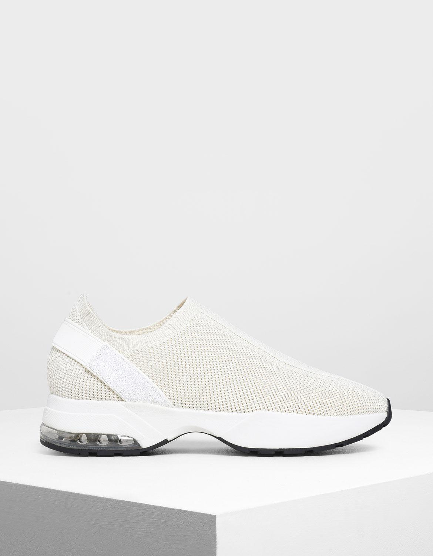Cream Knitted Sock Slip-On Sneakers