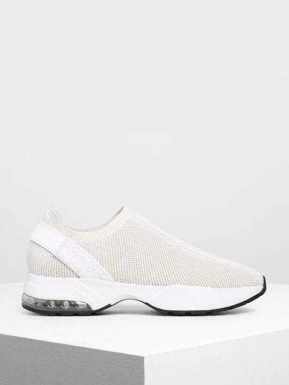 Knitted Sock Slip-On Sneakers, Cream, hi-res